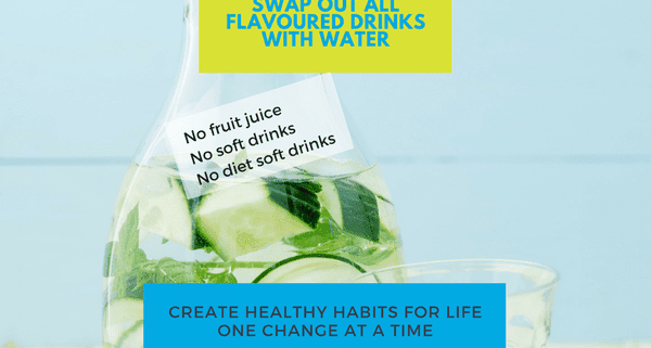 Replace soft drink fruit juice with water